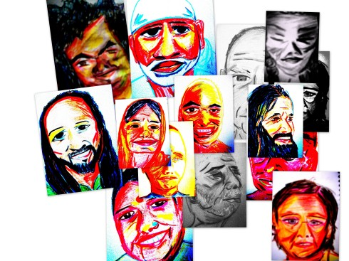 drawings of gurus from my time in India